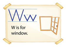 A letter W for window. On a white background stock illustration
