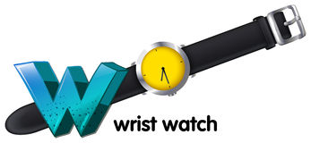 A letter W for wrist watch Royalty Free Stock Photography