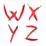 The letter W, X, Y, Z composed of red chili peppers Royalty Free Stock Image