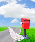 The letter was receive and send many messages. Stock Photo