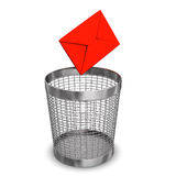 Letter Wastebasket. Red email and steel wastebasket on the white background Royalty Free Stock Images