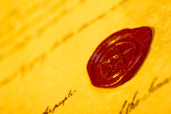 Letter with wax seal Stock Photos