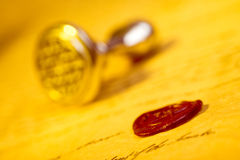 Letter with wax seal royalty free stock photos