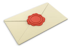 Letter and Wax Stamp (clipping path included) Royalty Free Stock Images