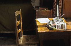 Letter Writing. Still life with chair and desk set stock images