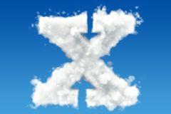 Letter X, alphabet from clouds in the sky. 3D rendering Stock Photos