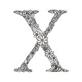 Letter X coloring book for adults vector Stock Photography
