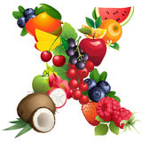 Letter X composed of different fruits with leaves Stock Images