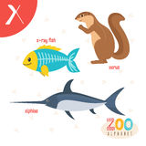 Letter X. Cute animals. Funny cartoon animals in vector. ABC boo
