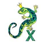 Letter X for Fantasy Cyrillic Alphabet - Azbuka with emerald lizard Royalty Free Stock Photography