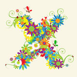 Letter X, floral design Royalty Free Stock Photo