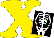 Letter X with an X Ray. Sitting next to it royalty free illustration