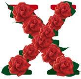Letter X red roses  illustration Stock Images