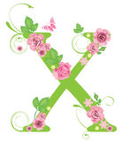 Letter X with roses Stock Images