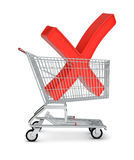 Letter X sign in shopping cart Royalty Free Stock Image