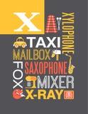 Letter X words typography illustration alphabet poster design