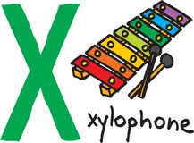 Letter X - xylophone. Vector image on white background royalty free illustration