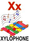 Letter X xylophone. Alphabet drawing for small school children X xylophone stock illustration