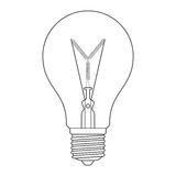 The letter Y, in the alphabet Incandescent light bulb set. Outline style black and white color isolated on white background Royalty Free Stock Photography