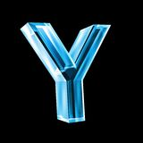 Letter Y in blue glass 3D Royalty Free Stock Image