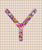 The letter Y Bright floral element of colorful alphabet in  Stock Photography
