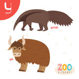 Letter Y. Cute animals. Funny cartoon animals in vector. ABC boo Royalty Free Stock Image