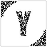 The letter Y. Decorative Font with swirls and floral elements. Vintage style.  Royalty Free Stock Image
