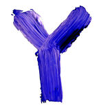 Letter Y drawn with blue paints Stock Photo