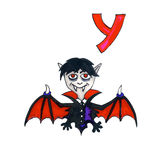 Letter Y for Fantasy Cyrillic Alphabet - Azbuka with cute vampire Royalty Free Stock Photography