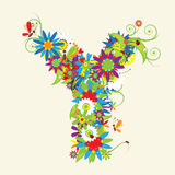 Letter Y, floral design Royalty Free Stock Photos