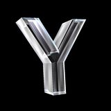 Letter Y in glass 3D Stock Photography