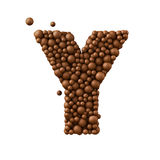 Letter Y made of chocolate bubbles, milk chocolate concept, 3d illustration.  royalty free illustration
