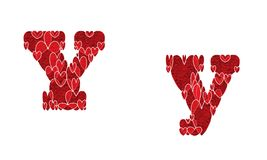Letter Y, made from hearts. Letter Y, uppercase and lowercase of alphabet made from hearts Royalty Free Stock Photos