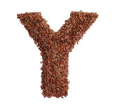 Letter Y made with Linseed also known as flaxseed isolated on wh Stock Images