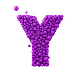 Letter Y made of plastic beads, purple bubbles, isolated on white, 3d render Stock Image