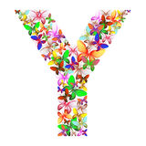 The letter Y made up of lots of butterflies of different colors Royalty Free Stock Images
