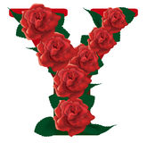 Letter Y red roses  illustration Royalty Free Stock Photography