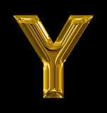 Letter Y rounded shiny golden isolated on black. Background Royalty Free Stock Image
