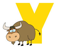Letter y with a yak. Cartoon character  yak    funny alphabet-Y Royalty Free Stock Image