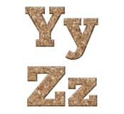 Letter Y,Z. Cork alphabet, letter Y,Z. Isolated on white background Stock Photo