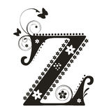 Letter Z. Decorative letter with flowers for design Royalty Free Stock Photography