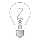 The letter Z, in the alphabet Incandescent light bulb set. Outline style black and white color isolated on white background Stock Image