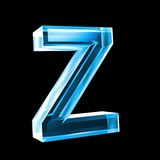 Letter Z in blue glass 3D Stock Photography