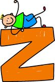 Letter Z boy. Happy little boy climbing on giant letter Z isolated on white - toddler art series Stock Photography