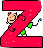 Letter Z boy. Happy little boy climbing over giant letter Z - toddler art series Royalty Free Stock Photo