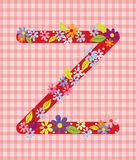 The letter Z Bright floral element of colorful alphabet in  Royalty Free Stock Photography
