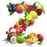 Letter Z composed of different fruits with leaves Stock Image