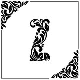 The letter Z. Decorative Font with swirls and floral elements. Vintage style.  Royalty Free Stock Image