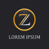 Letter Z elegant logo. Golden and silver in round frame on a dark background. Logotype vector design Stock Illustration