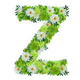 Letter Z from green and white flowers isolated on white stock illustration